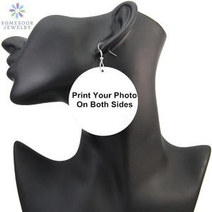 Image 1 - Somesoor卸売カスタマイズされたプリントアフリカ木製ドロップイヤリングパーソナライズされたアフロウッドブラブライヤリング女性ギフトのため15ペア