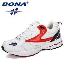 BONA 2019 Novo Designer Profissional Tênis de corrida Dos Homens de Couro Primavera Outono Sapatos Homens Atlético Tênis de Corrida Calçado
