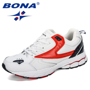 Image 1 - BONA 2019 Yeni Tasarımcı Profesyonel Deri koşu ayakkabıları Erkekler İlkbahar Sonbahar yürüyüş ayakkabısı Erkekler Atletik Koşu Sneakers Ayakkabı