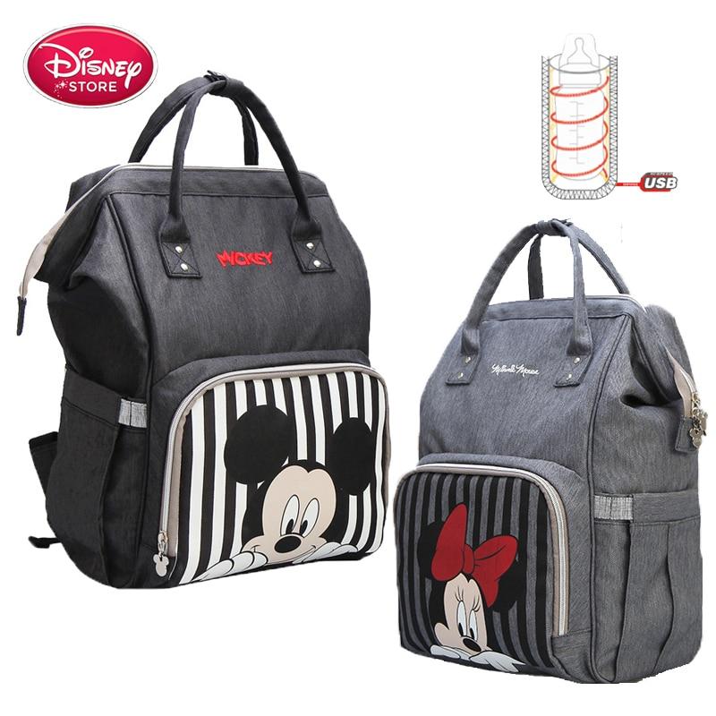 Sac à dos à couches Mickey Mouse Disney | Sac à dos pour bébé maman, sac de poussette pour mère sac de voyage, sac à dos Mickey et Minnie, bouteille USB
