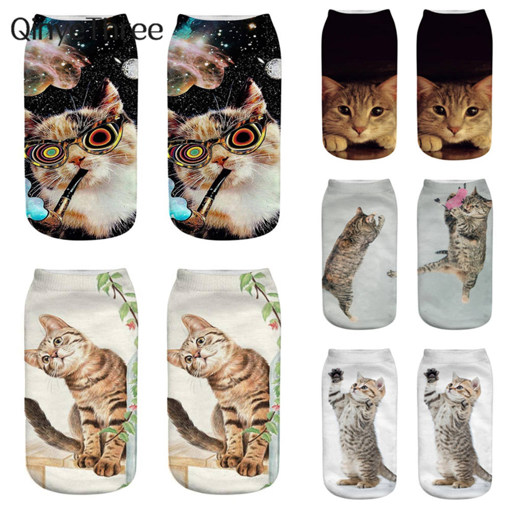 Women's Funny Animal Cute 3D Print Socks Girls Ankle Socks Unisex Socks Hot Women Fashion Sox Cartoon Cat For Female