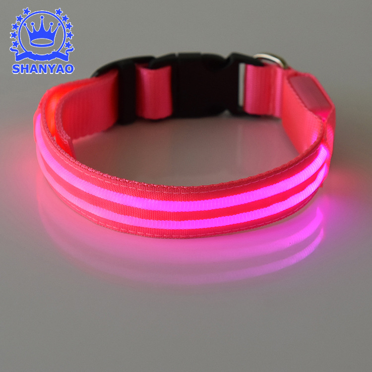 LED Luminous Dog Collar Nylon Translucent Dual Fiber LED Pet Luminous Collar Pet Supplies