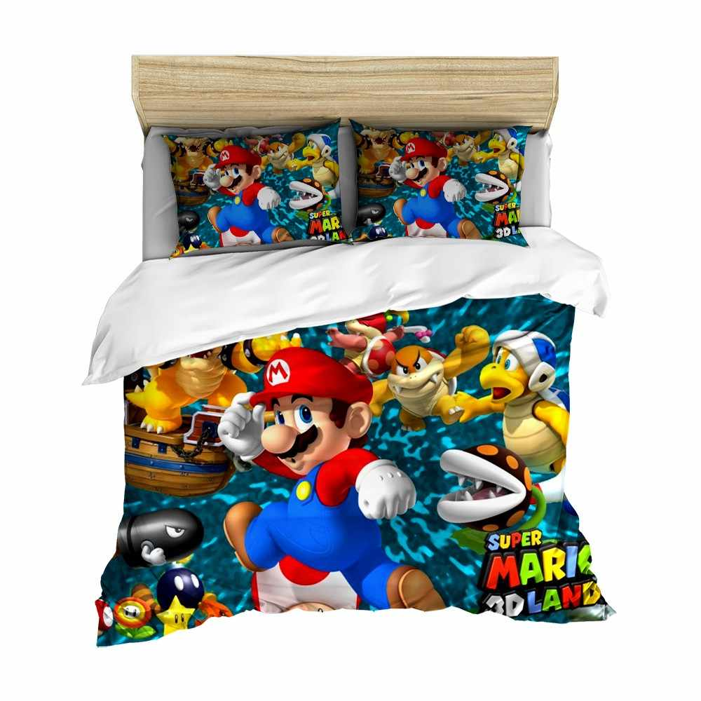 Soft Microfiber Duvet Cover Super Mario Tortoise Game Bedding Children Room Decorative Bedspread Pillowcase Bed Sets Quilt Cover