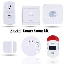 Kablosuz kapı mıknatısı sensör dedektörü yangın koruma duman dedektörü GSM güvenlik Alarm sistemi APP kontrolü hırsız alarmı sistemi
