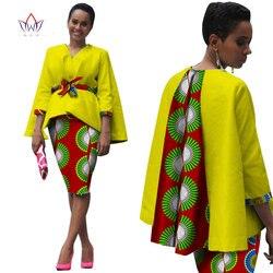 Africa Donne di Stile Africano Abbigliamento A Due Pezzi Set Vestito di Vestito per Le Donne Magliette e camicette Giacca e del Pannello Esterno Della Stampa Bazin Riche Abbigliamento WY809