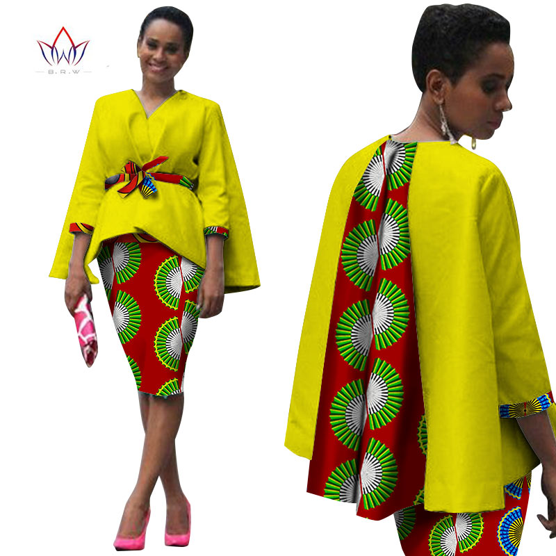 Africa Style Women African Clothing Two Piece Set Dress Suit For Women Tops Jacket And Print Skirt Bazin Riche Clothing WY809