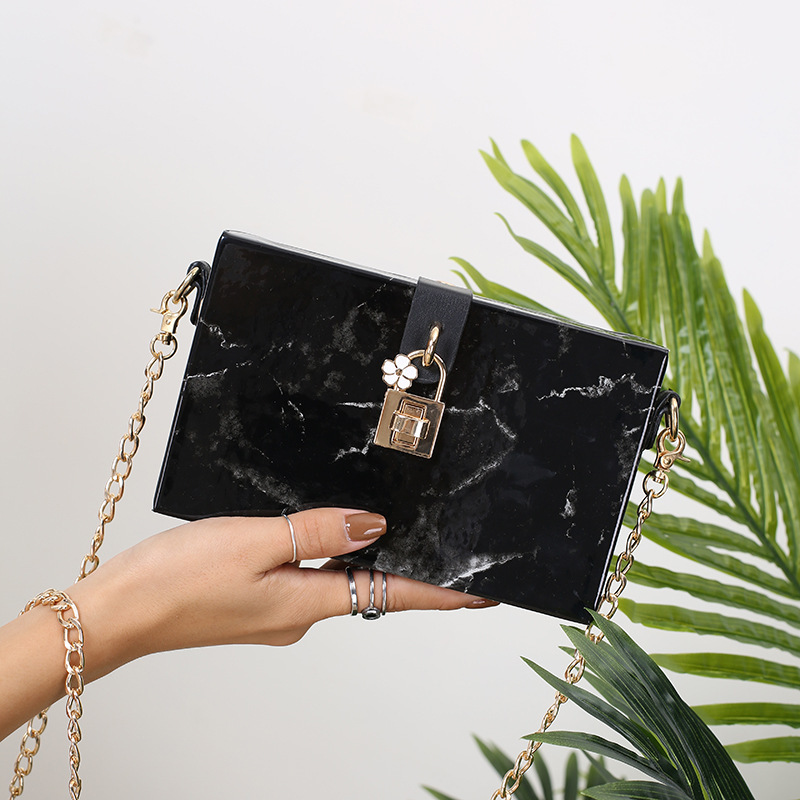 Marble Pattern Chain Shoulder Bag Wild Lock Buckle Box Bag Lady Flap Women Fashion Crossbody Bag Box Handbags Evening Clutch