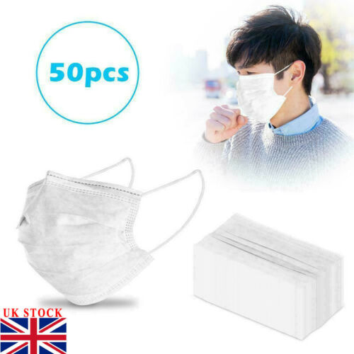 Fast Shipping 50 PCS Disposable Mask White 3-Layer Mouth Face Masks Mouth Mask Non-Woven Mask Anti-Dust Face Masker Wholesale