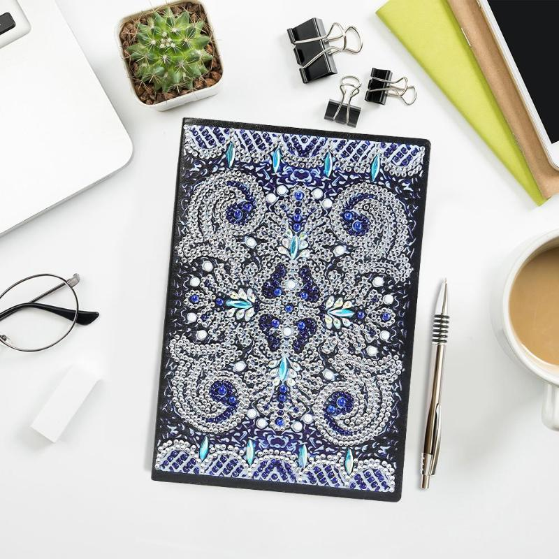 Vintage Mandala Pattern Notebook Special Shaped Diamond Painting 50 Pages Sketchbook A5 DIY Writing Crafts Planner Diary Agenda