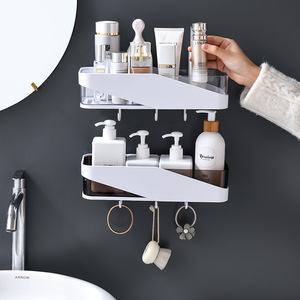 Image 2 - Punch free Bathroom Organizer Shelf Shampoo Cosmetic Coat Hook Storage Rack Wall Mounted Household Items Bathroom Accessories