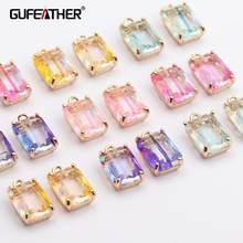 Gufecouro m431, acessórios para joias, pingente de vidro, anel de pular, achados de joias, feito à mão, brincos diy, 10 pçs/lote