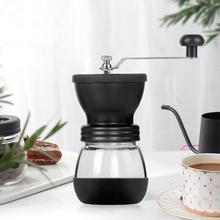 Srebrny młynek do kawy Mini instrukcja obsługi ze stali nierdzewnej ręcznie młynki do kawy Burr młynki młynek do narzędzi kuchennych tanie tanio Z tworzywa sztucznego Szkło Zmywalna