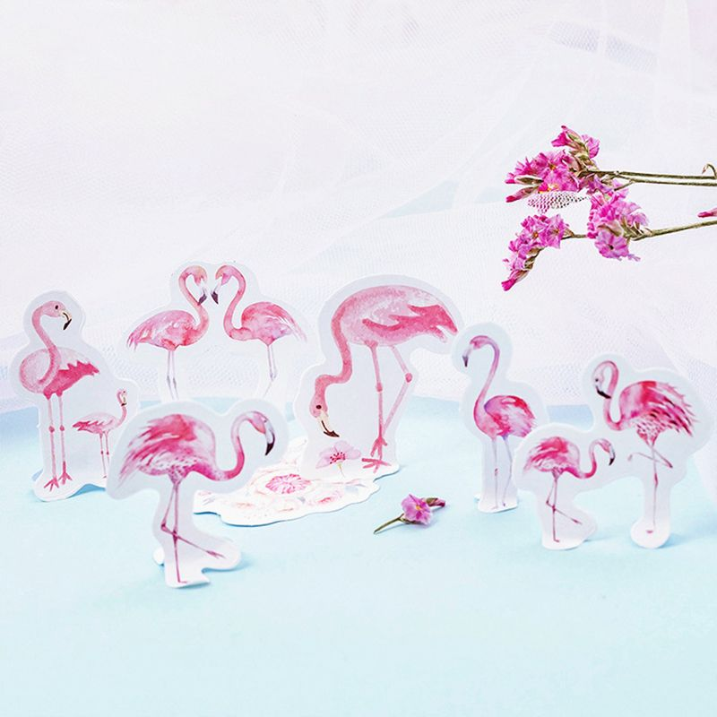 46Pcs/Lot Cute Animal Pink Flamingo Decoration Paper Sticker DIY Album Diary Scrapbooking Label Sticker