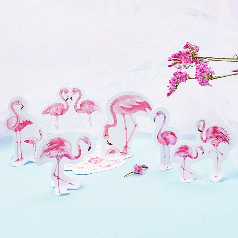 46Pcs/Lot Cute Animal Pink Flamingo Decoration Paper Sticker DIY Album Diary Scrapbooking Label Sticker
