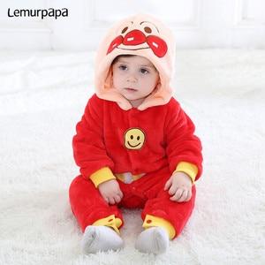 Image 1 - Inverno kawaii roupas da menina do bebê anpanmanonesie bebê recém nascido macacão de algodão do miúdo macacão infantil festa onesies macacão bonito traje