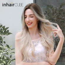 Inhaircube Ombre light Blond Cosplay Wig Dark Root Natural Hairline Mid