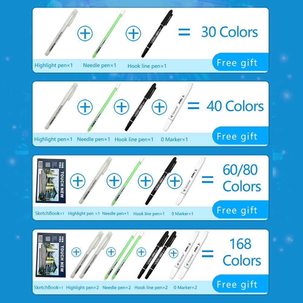 TouchFIVE sanat belirteçleri setleri 30/40/60/80/168 renk Anime öğrenci tasarım kroki manga alkol işaretleyici kalem çizim için (beyaz kalem)