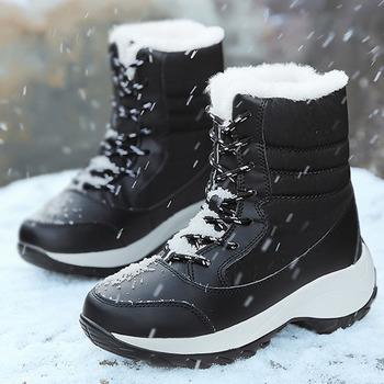 Damskie buty śniegowe 2019 nowe wodoodporne buty zimowe damskie buty jednokolorowa na co dzień buty kobieta utrzymuj ciepłe pluszowe buty zimowe damskie buty tanie i dobre opinie HAJINK Połowy łydki Pasuje prawda na wymiar weź swój normalny rozmiar Okrągły nosek Zima Lace-up Stałe Mieszkanie z