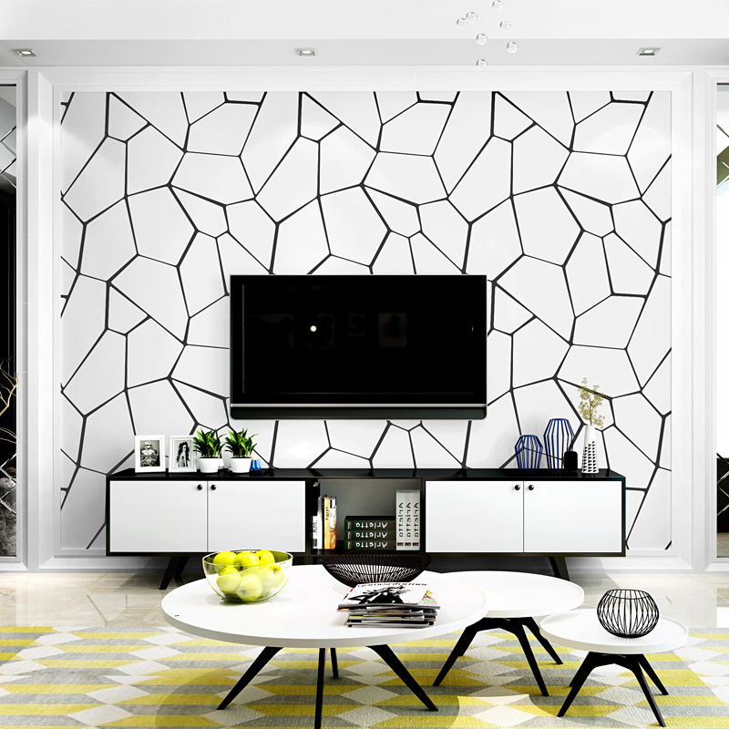 Modern Minimalist Black And White Nonwoven Fabric Living Room Bedroom Restaurant Film And Television Wall Wallpaper Nordic TV Ba