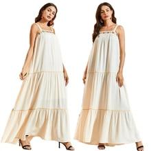 Ethnic Fashion Women Spaghetti Strap Long Dress Boho Style Loose Casual Sundress