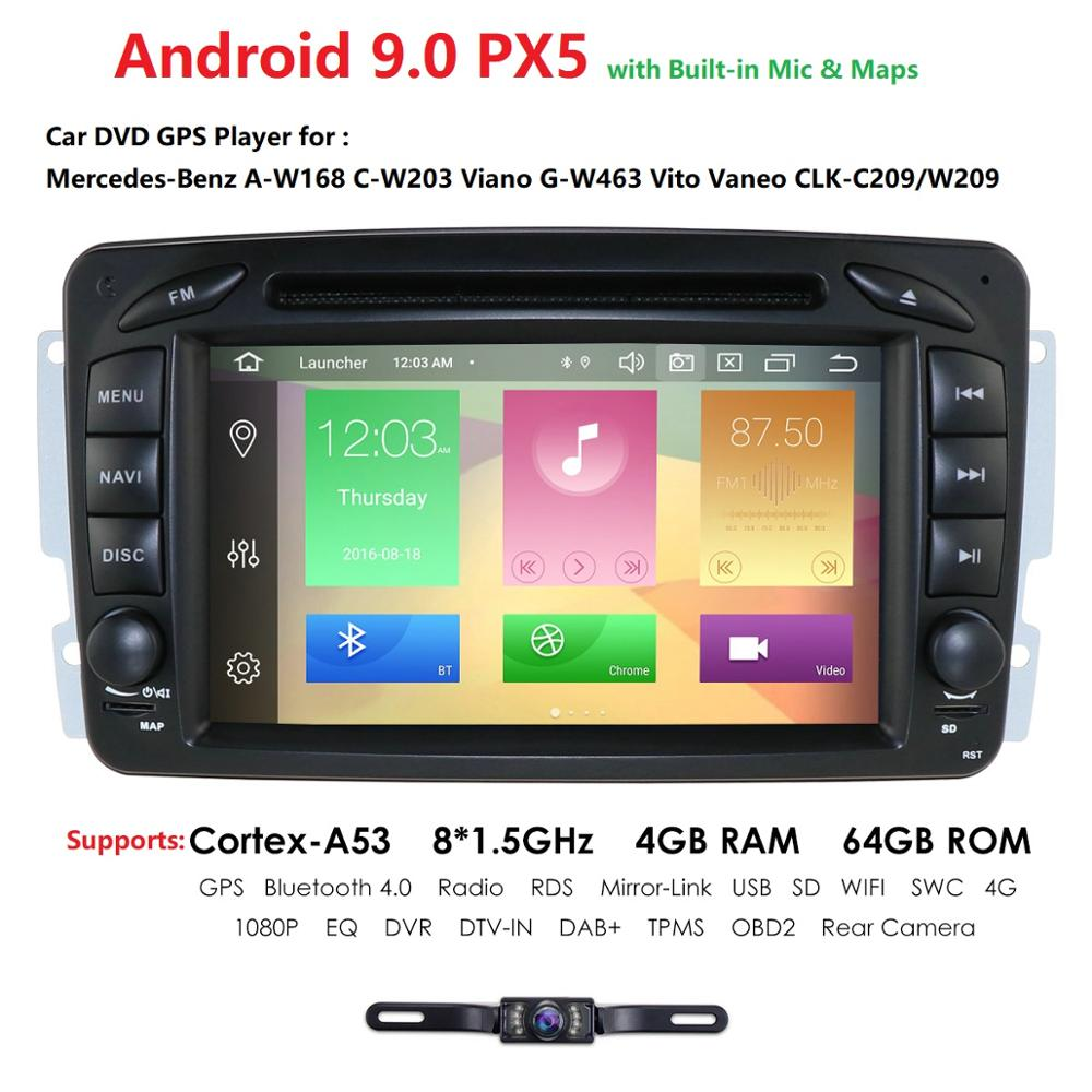 7 Inch Double <font><b>2</b></font> <font><b>Din</b></font> Octa Core Android 9.0 4G RAM 64G ROM For Mercedes Benz CLK W209 W203 W208 W463 Mirror Link DAB+ IPS DSP image