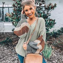 NLW V Neck Plus Size Women Autumn Sweater 2019 Winter Patchwork Loose Lantern Sleeve Streetwear Stripe Jumper Female Pullover nlw 27 20 дюймов