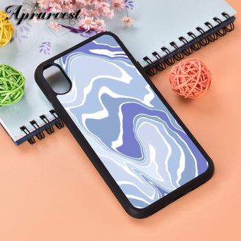 Aprarvest Blue Wavey Silicone Rubber Phone Case Cover For iPhone 6 6S 7 8 PLUS X XS XR 11 12 MINI PRO MAX image