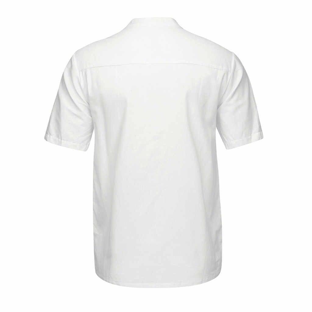 20 #2020 ชายฤดูร้อน Baggy ฝ้ายผสมสามสี V คอเสื้อเสื้อแฟชั่นฤดูร้อนเสื้อด้านบน
