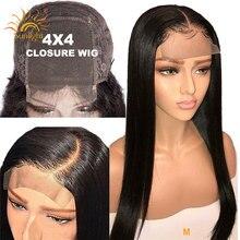 Бразильский 4x4 закрытие парик прямые человеческие волосы парики для черных женщин 150 предварительно выщипанные кружевные парики Солнечный свет Remy 4х4 закрытие шнурка парик