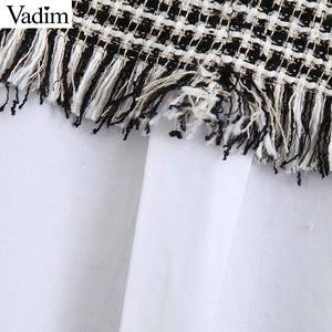 Image 3 - Vadim kadınlar zarif tüvit patchwork bluz uzun kollu ruffled yaka gömlek tatlı tiki tarzı kadın rahat chic tops LB708