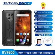 Blackview-Telefon komórkowy BV9800 6GB 128GB 48 MPix smartfon komórka Helio P70 Android 9 0 tylny aparat IP68 wodoodporny 6580 mAh 6 3 cala FHD tanie tanio Nie odpinany CN (pochodzenie) Rozpoznawania linii papilarnych Rozpoznawania twarzy Inne 48MP 4050 Nonsupport english Rosyjski