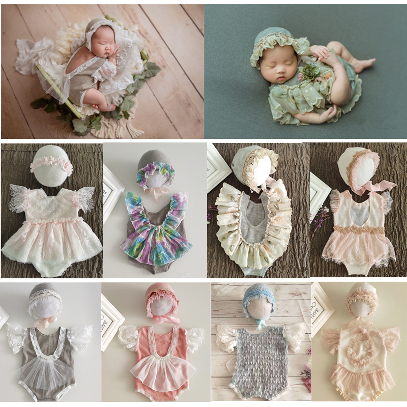 Roupas de fotografia recém-nascidos rendas macacões + chapéu bebê menina foto adereços acessórios estúdio infantil tiro roupas princesa vestido