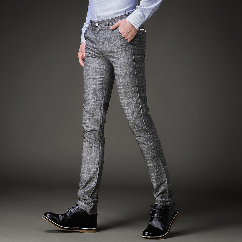 2019 Spring and Autumn Mens Fashion Business Casual Plaid Pants High Quality Fabric Gray Elastic Suit