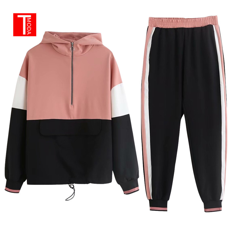 New Arrivel Vintage Pink Contrast Color Baseball Bomber Pullover Jacket Women Tops And Pencil Jogging Pants Suits Two Piece Sets