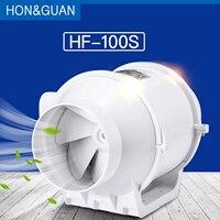Hon&Guan 4'' Inline Duct Fan Booster Fan Plastic Waterproof Ventilation Pipe Exhaust Ceiling Bathroom Extractor Fan HF 100S