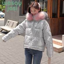 Winter Parkas Women Glossy Padded Jacket Short thicken Warm Hip-hop Shiny Jacket Coat Casual hooded outwear Parka coat M-2XL цена в Москве и Питере