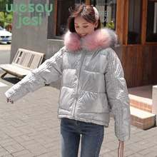 Winter Parkas Women Glossy Padded Jacket Short thicken Warm Hip-hop Shiny Jacket Coat Casual hooded outwear Parka coat M-2XL(China)
