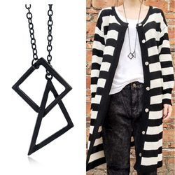 Fashion Metal Black Color Retro Geometry Square Triangle Long Sweater Chain Necklace for Lady Girl Women Girlfriend