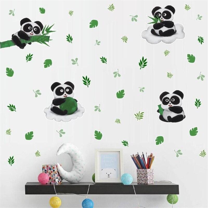 Панда, бамбуковые листья, настенные наклейки для детской комнаты, гостиной, спальни, настенное украшение, детская спальня, декоративная рос...