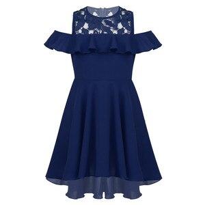 Image 4 - 膝丈レーススプライス高値安値裾フラワーガールのドレス子供フリルトリミングコールド肩ハイウエストの誕生日のドレス