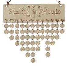 Рождественские украшения Дерево день рождения доска напоминаний березовый слой табличка знак Семья Друзья DIY календарь доска L* 5