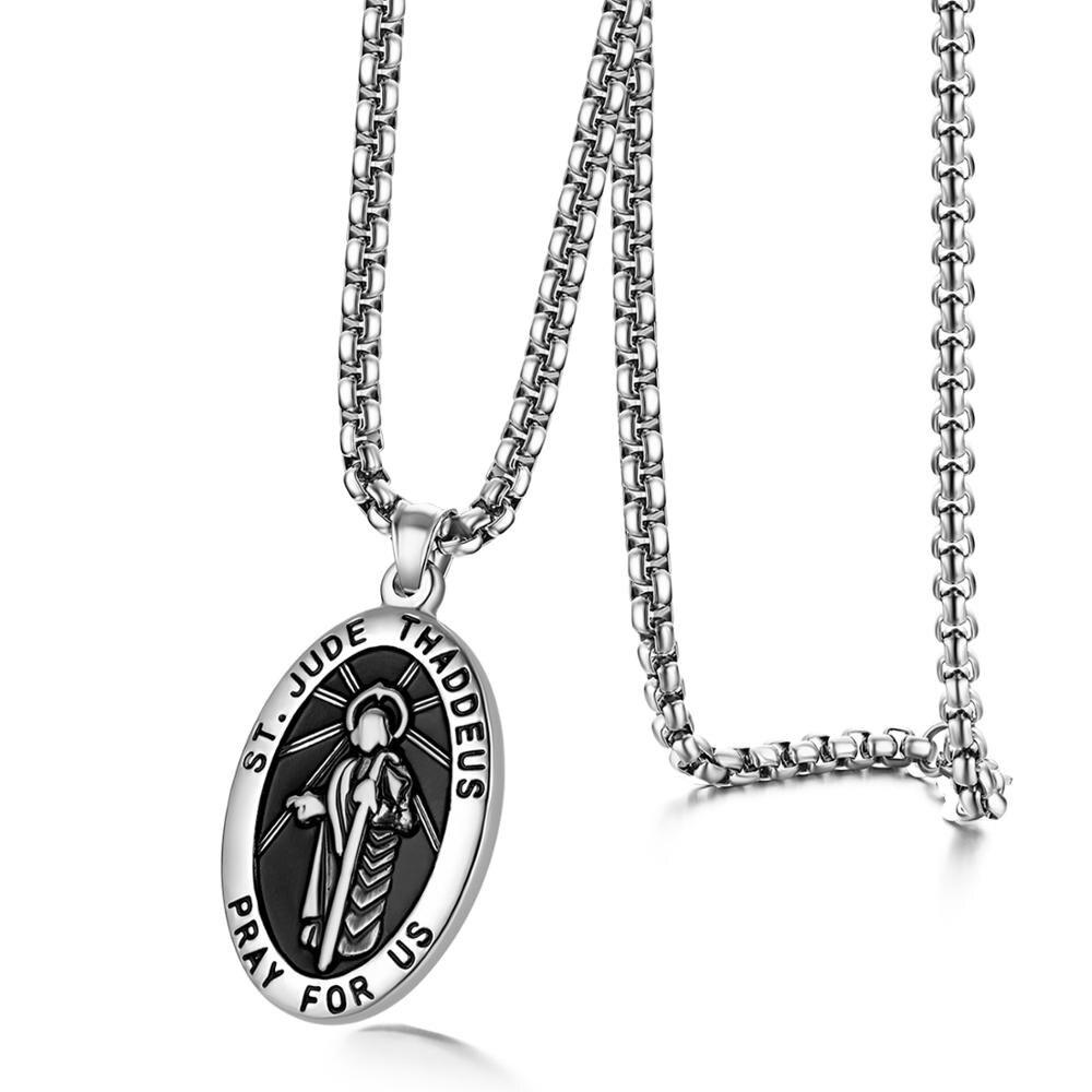 Ожерелье BONISKISS мужское из нержавеющей стали, винтажная цепочка овальной формы с кулоном Иисуса в винтажном стиле, ожерелье в христианском с...