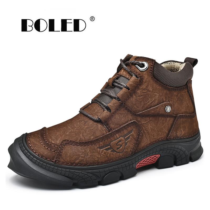 Plus Size Outdoor Boots Men Genuine Leather Plush Men Winter Shoes Rubber Anti-Skidding Ankle Snow Boots Shoes
