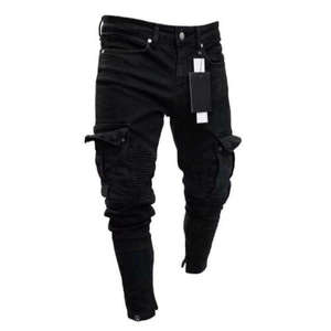 Skinny Jeans Pants Denim Trousers Biker-Ripped Stretchy-Black-Pants Destroyed Long Men