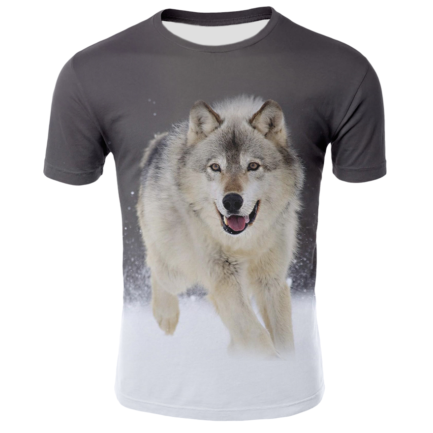 Wolf Print 3D Series T-Shirt Men's Autumn Summer Tee Short Sleeve O-neck Tops High Quality Funny Animal T Shirt Men