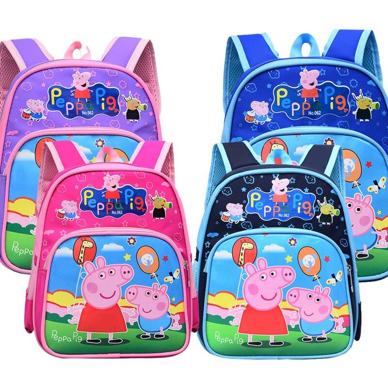 New Peppa Pig Kindergarten Bag Fashion Cute Cartoon Character Print Backpack Waterproof Decompression Children Birthday Gift