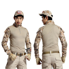 New spring tactical camouflage long-sleeved T-shirt mens uniforms quick-drying stand collar combat Multicam