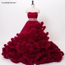 대성당 웨딩 드레스 2020 tulle crystal Off the Shoulder 우아한 볼 가운 burgund 로얄 블루 퍼플 블러쉬 핑크 브라 드레스
