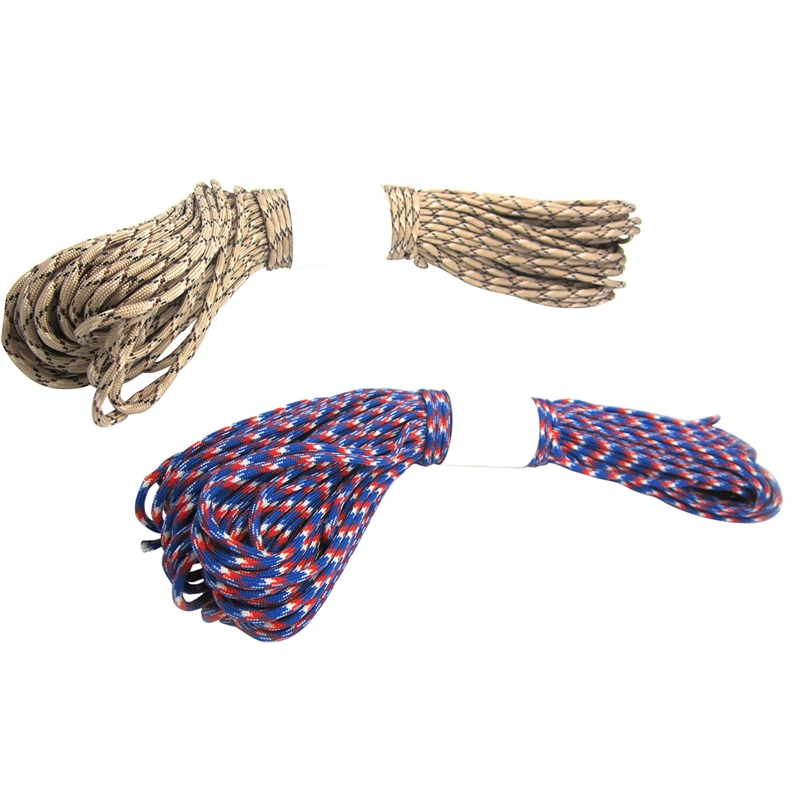 2 Pcs Parachute Cord with 7 Strands  550 Lbs  100 Ft.   Red + White + Blue Camo & Desert Camo|Paracord| |  - title=