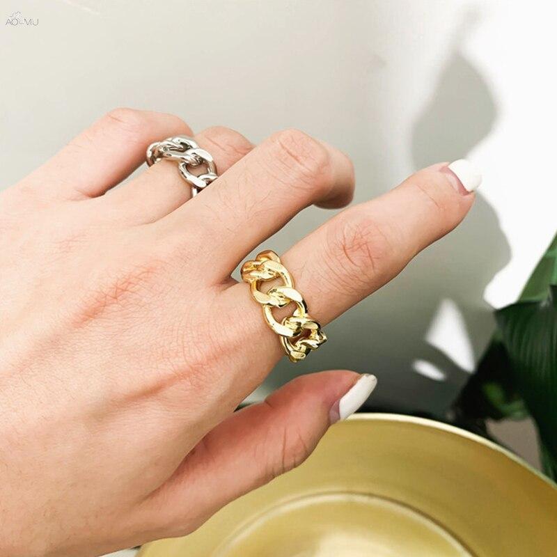 He9f22d9d963344ecade17710ef019359q 1PC 2020 Fashion Golden Metal Rings for Women